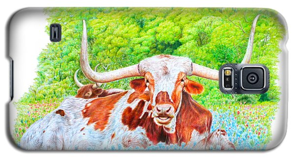 Longhorns In Bluebonnets Galaxy S5 Case by Mike Ivey
