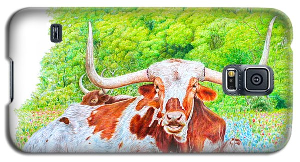 Longhorns In Bluebonnets Galaxy S5 Case