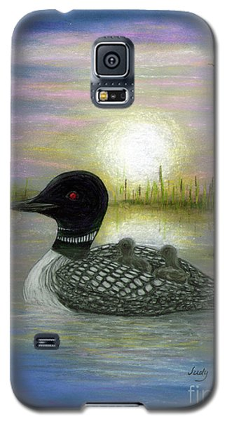 Galaxy S5 Case featuring the painting Loon Babies On Mother's Back Judy Filarecki by Judy Filarecki
