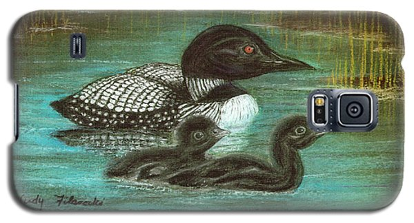 Loon Babies With Mother Judy Filarecki Pastel Painting Galaxy S5 Case by Judy Filarecki