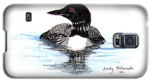 Loon Swim Judy Filarecki Watercolor Galaxy S5 Case by Judy Filarecki