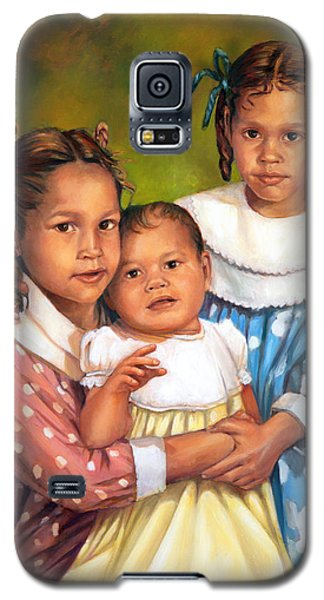 Galaxy S5 Case featuring the painting Loretta And Her Sisters by Nancy Tilles