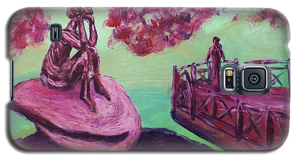 Galaxy S5 Case featuring the painting Lost In Thought Green Pink Magenta Purple With Cherry Blossom Tree Bridge Mountain Rock After Hiking by MendyZ M Zimmerman
