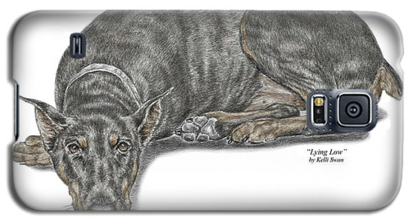 Galaxy S5 Case featuring the drawing Lying Low - Doberman Pinscher Dog Print Color Tinted by Kelli Swan