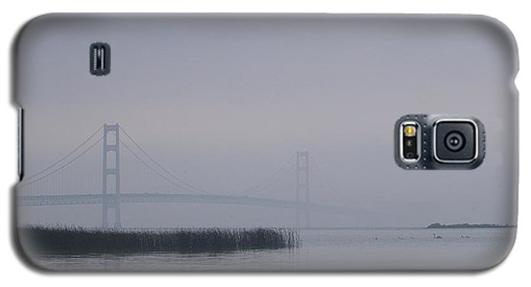 Galaxy S5 Case featuring the photograph Mackinac Bridge And Swans by Randy Pollard