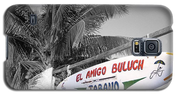 Galaxy S5 Case featuring the photograph Mahahual Mexico Surfboard Sign Color Splash Black And White by Shawn O'Brien