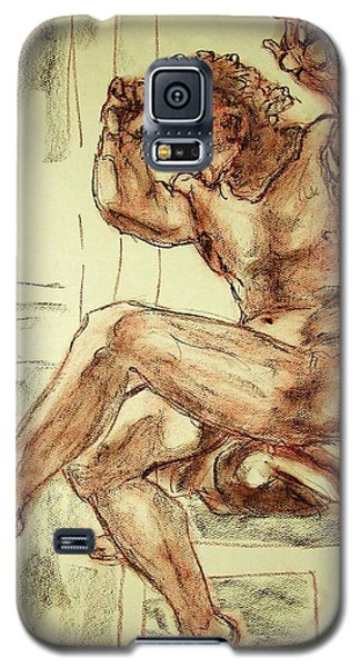 Galaxy S5 Case featuring the drawing Male Nude Figure Drawing Sketch With Power Dynamics Struggle Angst Fear And Trepidation In Charcoal by MendyZ M Zimmerman
