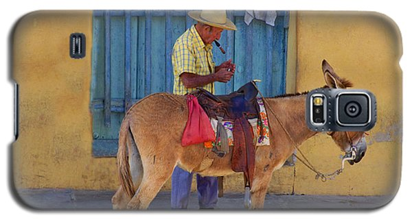Galaxy S5 Case featuring the photograph Man And A Donkey by Lynn Bolt