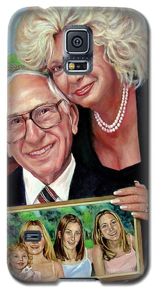 Galaxy S5 Case featuring the painting Marilyn's Inlaws And Their Grandchildren by Nancy Tilles