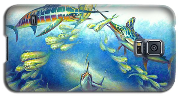 Galaxy S5 Case featuring the painting Marlin Frenzy by Nancy Tilles
