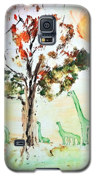 Galaxy S5 Case featuring the painting Matei's Dinosaurs by Evelina Popilian