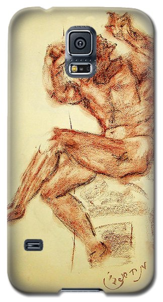 Galaxy S5 Case featuring the drawing Michelangelo Sketch In Terra Cotta Chalk Drawing On Textured Paper Of Nude Male Sistine Chapel by MendyZ M Zimmerman