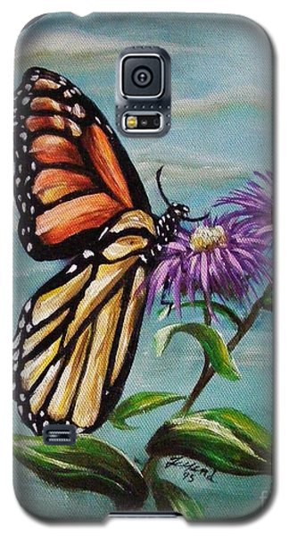 Galaxy S5 Case featuring the painting Monarch And Aster by Karen  Ferrand Carroll
