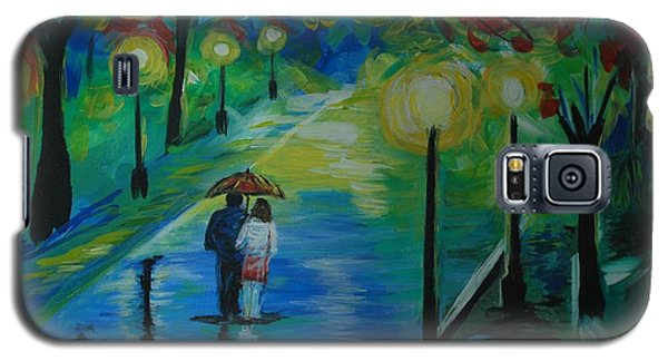 Galaxy S5 Case featuring the painting Moonlight Stroll Series 1 by Leslie Allen