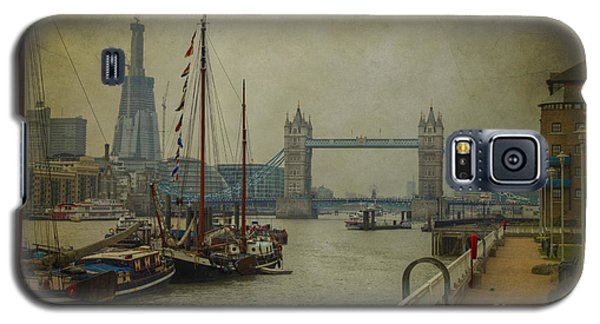 Galaxy S5 Case featuring the photograph Moored Thames Barges. by Clare Bambers