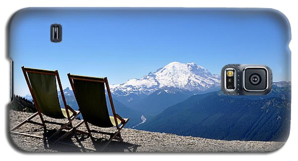 Galaxy S5 Case featuring the photograph Mt. Rainier Chairs And Chipmunk by Tanya  Searcy