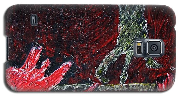 Galaxy S5 Case featuring the painting Music Inspired Dancing Tango Couple On Pomegranates In Rain Juice Contemporary Lyrical Splattered by M Zimmerman MendyZ