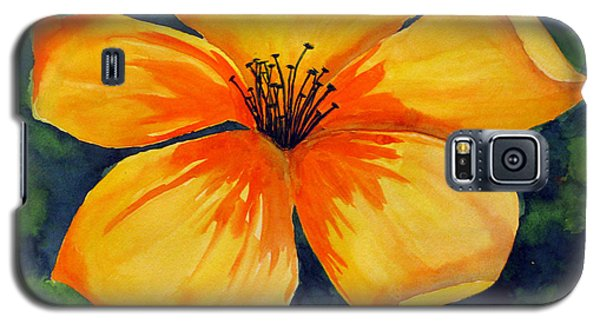 Galaxy S5 Case featuring the painting Mysterious Yellow Flower by Debi Singer