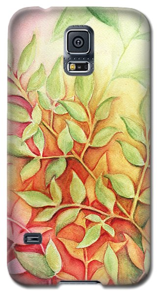 Galaxy S5 Case featuring the painting Nandina Leaves by Carla Parris