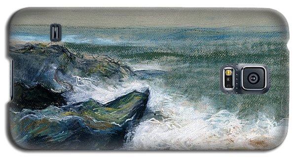 Nature Beach Landscape Of Sea In Storm Blue Green Water White Wave Breaks On Rock Clouds In Sky  Galaxy S5 Case by Rachel Hershkovitz