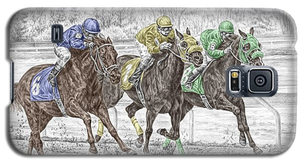 Galaxy S5 Case featuring the drawing Neck And Neck - Horse Race Print Color Tinted by Kelli Swan