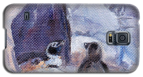 Galaxy S5 Case featuring the painting Nesting Penguins by Brenda Thour
