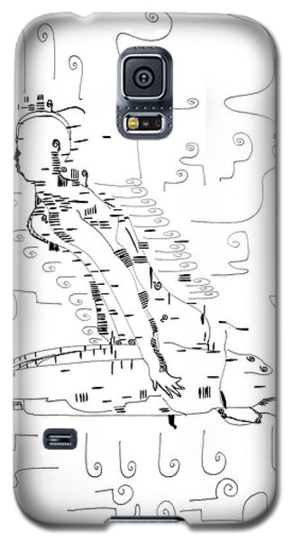 Galaxy S5 Case featuring the drawing Ngwale Dance - Botswana by Gloria Ssali