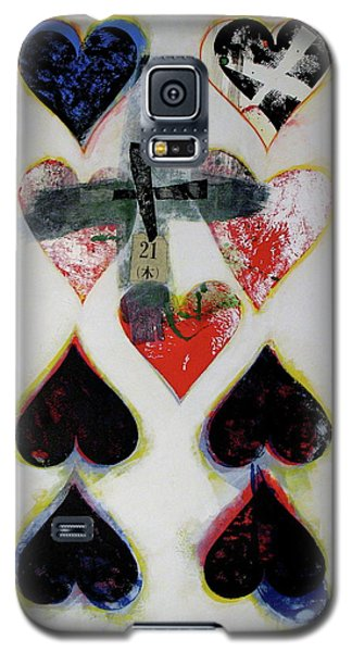 Galaxy S5 Case featuring the painting Nine Of Hearts 21-52 by Cliff Spohn