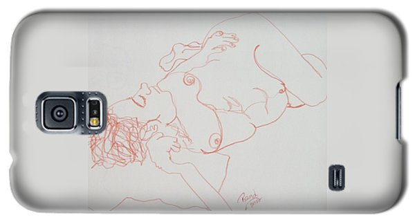 Nude Resting In Red Galaxy S5 Case by Rand Swift