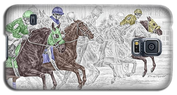 Galaxy S5 Case featuring the drawing Odds Are - Tb Horse Racing Print Color Tinted by Kelli Swan