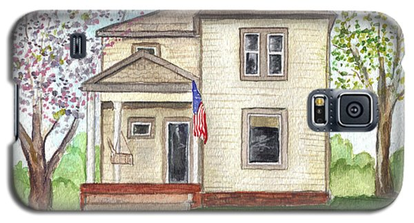 Galaxy S5 Case featuring the painting Ohio Cottage With Flag by Clara Sue Beym