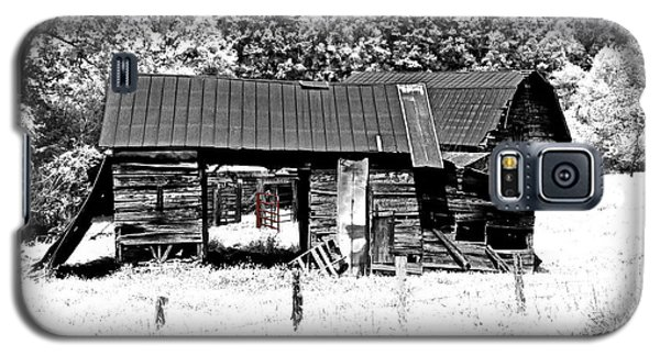 Galaxy S5 Case featuring the photograph Old Barns With Red Gate by Susan Leggett