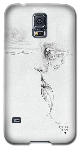 Old Nature Face Black And White Art Looking Into Cloud  L Leaf Beard Fantasy Flower Tear Surreal Galaxy S5 Case by Rachel Hershkovitz