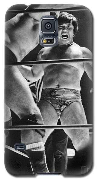 Galaxy S5 Case featuring the photograph Old School Wrestling Karate Chop On Don Muraco By Dean Ho by Jim Fitzpatrick