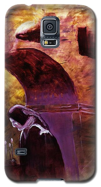 Galaxy S5 Case featuring the painting Old Woman Lighting Candles In Cathedral In Purple And Yellow  by MendyZ M Zimmerman