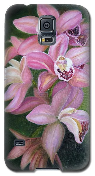 Galaxy S5 Case featuring the painting Orchids by Marlyn Boyd