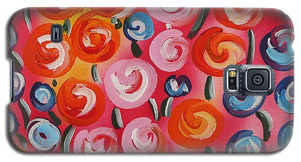 Original Modern Impasto Flowers Painting  Galaxy S5 Case by Gioia Albano