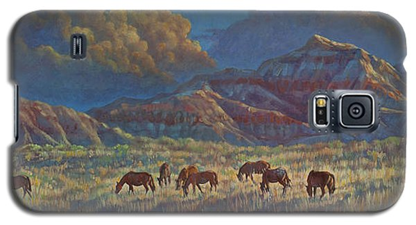 Galaxy S5 Case featuring the painting Painted Desert Painted Horses by Rob Corsetti