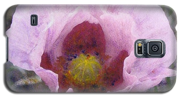 Galaxy S5 Case featuring the painting Pale Pink  Poppy by Richard James Digance