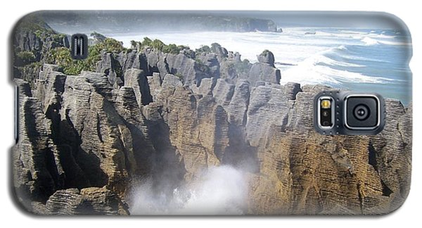 Galaxy S5 Case featuring the photograph Pancake Rocks Blowhole by Peter Mooyman