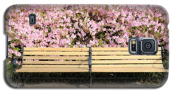 Galaxy S5 Case featuring the photograph Park Bench And Azaleas by Bradford Martin
