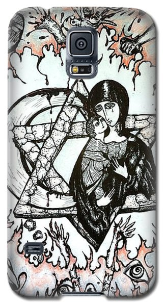 Galaxy S5 Case featuring the drawing Peace Process by Rae Chichilnitsky