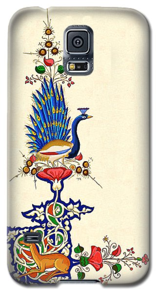Galaxy S5 Case featuring the painting Peacock And Fawn 2 by Raffaella Lunelli