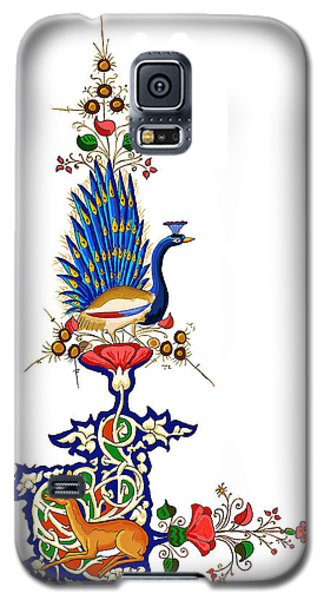 Galaxy S5 Case featuring the painting Peacock And Fawn by Raffaella Lunelli