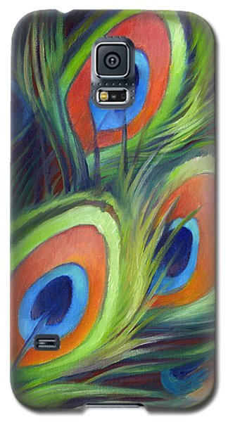 Galaxy S5 Case featuring the painting Peacock Feathers by Nancy Tilles