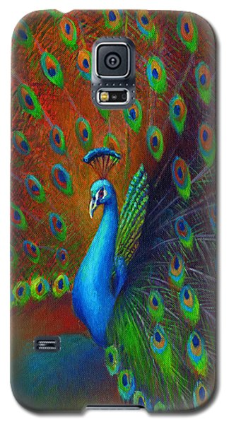 Galaxy S5 Case featuring the painting Peacock Spread by Nancy Tilles