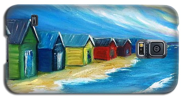Galaxy S5 Case featuring the painting Peninsular Boatsheds by Therese Alcorn
