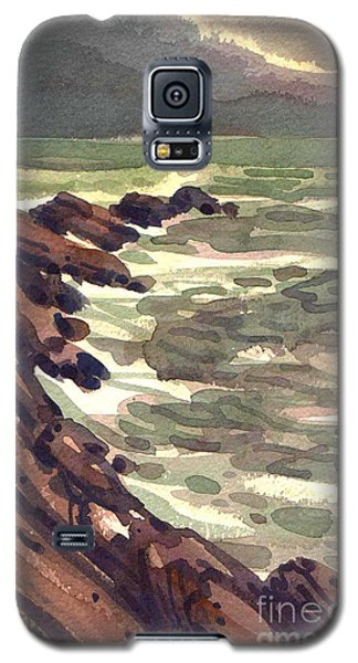 Galaxy S5 Case featuring the painting Pescadero Rocks by Donald Maier