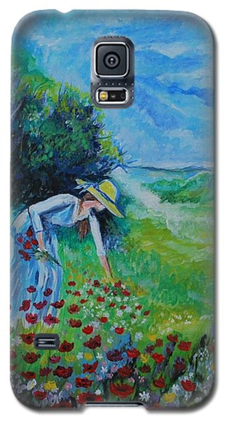 Galaxy S5 Case featuring the painting Picking Flowers by Leslie Allen