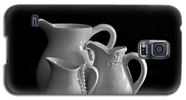 Galaxy S5 Case featuring the photograph Pitchers By The Window In Black And White by Sherry Hallemeier